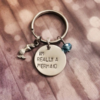 I'm Really A Mermaid - Keychain, Necklace, Charm, Blue Bead, Mermaids, Gift, Girly, Geek
