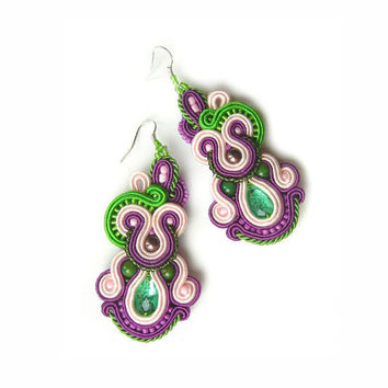 CHRISTMAS SALE 3%, Soutache Earrings, Handmade, Colorful Earrings, Statement Jewelry, Long Earrings, Rainbow, Pink Blue, Purple earrings