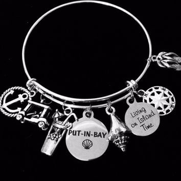 Put-in-Bay Lake Erie Island Jewelry Expandable Charm Bracelet Si
