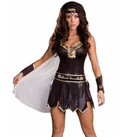 Sexy Women Brown Gladiator Xena Princess Roman Spartan Fancy Dress Halloween Costume Party Costumes Plus Size M-2XL