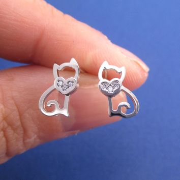 Kitty Cat Outline Shaped Allergy Free Stud Earrings in Silver with Rhinestone Heart