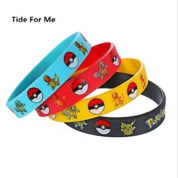 Trendy Charm Game Wristband Pokemon GO Silicone Bracelet Bangles Men Kids Black Rubber Bracelets for Women Souvenir Gift Jewelry