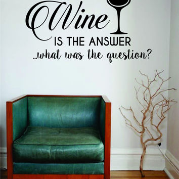 W is the Answer Wall Decal Sticker Room Art Vinyl Beautiful Quote Funny Adult Man Cave Kitchen