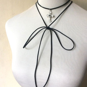 long multi-strand wrap choker necklace, crucifix charm in faux suede cord