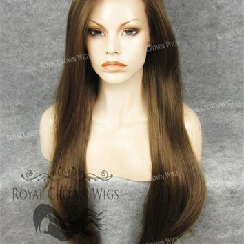 """30 inch Heat Safe Synthetic Wig Straight Lace Front """"Hera"""" in Light Brown Mix"""
