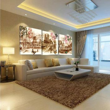 No Frame picture Canvas Printings Retro City Street Rose Landscape 3 Piece Modern Style Modular Pictures Decorative Wall Art Pri