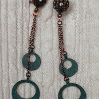 Rustic Dangling Hoops Copper Teal Patina Earrings: Double Strand, Distressed Metal, Hanging Chain, Genstone Leverback OOAK GIft For Her