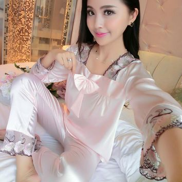 2017 New Spring Autumn Long Sleeve Silk Pajamas Female Lace Stitching Satin Sleepwear Women Bowknot Sexy Lingerie Plus Size 3XL