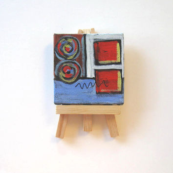 Abstract Acrylic Miniature Painting, mini canvas with easel