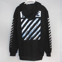 Off White New fashion letter print long sleeve top sweater Black