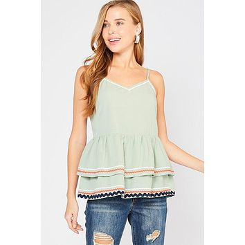 Ribbon Trimmed Tank Top - Sage
