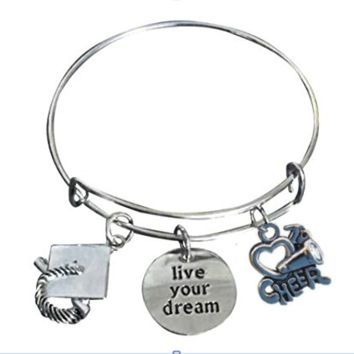 Cheer Graduation Live Your Dreams Bangle Bracelet