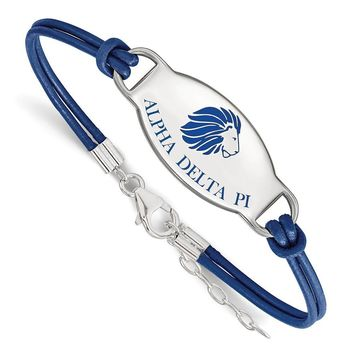 Sterling Silver Alpha Delta Pi Enamel Blue Leather Bracelet - 7 in.