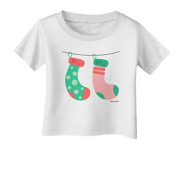 Cute Mr and Mr Christmas Couple Stockings Infant T-Shirt by TooLoud