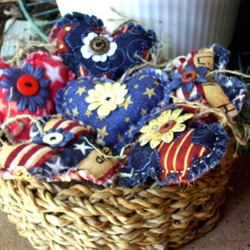 4th Of July, Independence Day, Patriotic Country HEART BOWL FILLERS, Handmade Primitive, Rustic, Shabby Chic, Cottage Chic, Scented