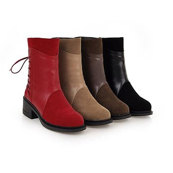 Women Casual Round Toe Square Heel Fashion Lace Up Boots