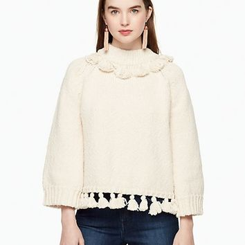 tassel cotton slub sweater