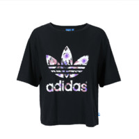 """Adidas""Bat Loose Sleeping Lotus Print Waist Short Sleeve T-Shirt Tops"