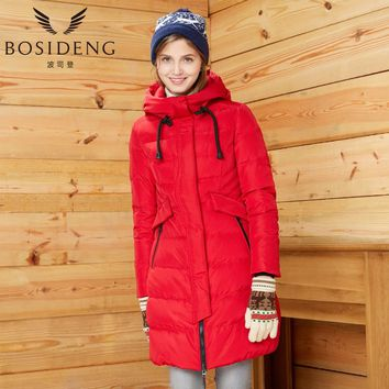 bosideng women's clothing winter long down coat female down jacket with hood outwear high quality thick down parka B1601300