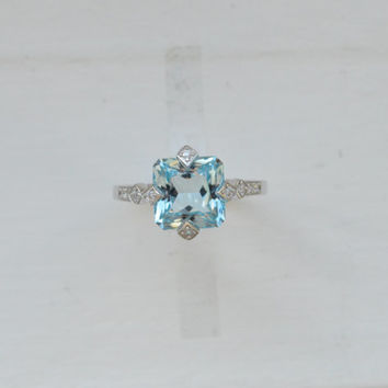 2.5ct Blue Topaz Ring - Cushion Cut Ring - Sterling Silver Ring - Promise Ring - Wedding Ring - Engagement Ring