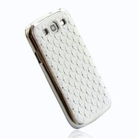 "ivencase Rhinestone Bling Chrome Plated Case Cover for Samsung Galaxy S III S3 I9300 White + One phone sticker + One ""ivencase"" Anti-dust Plug Stopper"