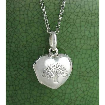 Little Puffed Heart Embossed Tree of Life Locket Necklace