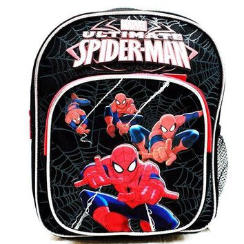 "Marvel Ultimate Spiderman Boys 10"" Canvas Black & Red School Backpack"
