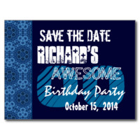 Custom Year  Birthday Save the Date Blue Midnight Post Cards