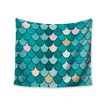 "Famenxt ""Mermaid Fish Scales"" Teal Nautical Illustration Wall Tapestry"