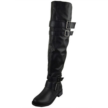 Womens Knee High Boots Multiple Buckle Accent Motorcycle Riding Shoes Black SZ
