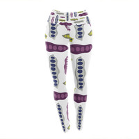"Laurie Baars ""Pods"" Yellow Purple Yoga Leggings"