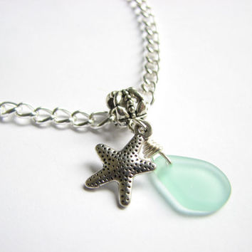 Starfish and Sea Glass Anklet, Silver Chain with Seafoam Beach Glass Slider Charm  Wedding Jewelry