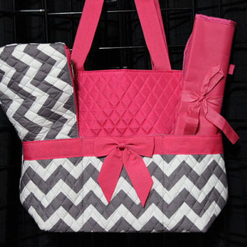 Machine Embroidered Quilted Diaper Bag- Gray Chevron Print with Pink Trim.  Includes FREE Personal Embroidery