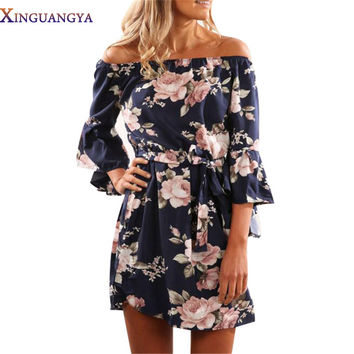 2017 Auturmn Flowers Print Mini Dress Women Flare Half Sleeve Off Shoulder Sexy Dress Blue Short Vintage Dresses