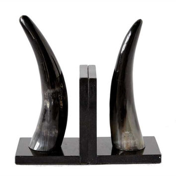 "8""H Horn Bookends On Black Marble Base"