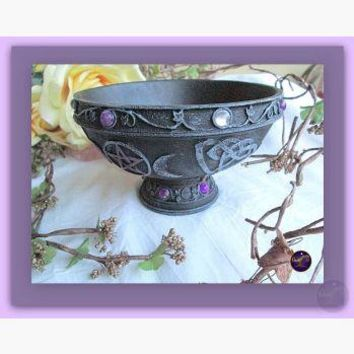 Triple Moon Pentagram Scrying Bowl