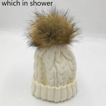 which in shower parenting faux raccoon fur pompom knit cable winter beanie hat family artificial fur ball bonnet cap women girl