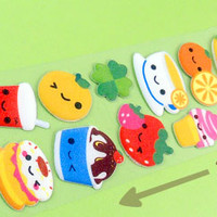 Buy Super Long Kawaii Happy Food Sticker Sheet at Tofu Cute