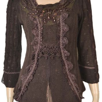 Pretty Angel Brown Corset Lace-up Top Lace Ruffles Victorian Style 67642