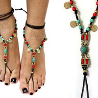 Suede Stone Metal Barefoot Sandals Brown Turquoise Multi