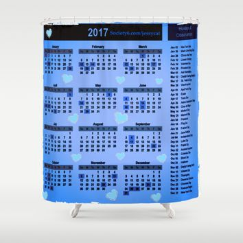 Blue hearts 2017 calendar Shower Curtain by Jessica Ivy