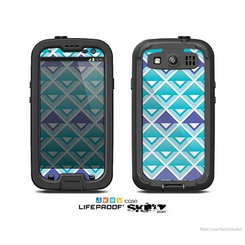 The Triangular Teal & Purple Abstract Cubes Skin For The Samsung Galaxy S3 LifeProof Case