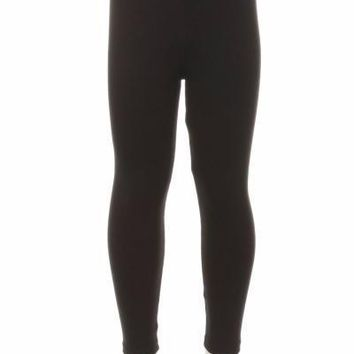 Girl's Black Leggings Solid Black:  S/L