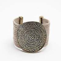 Free People Womens Embossed Disc Bracelet
