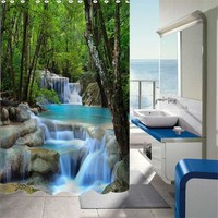 NEW!!!2 Sizes 3D Waterfalls Nature Scenery Shower Curtain Bathroom Products Fabric Shower Curtain With 12 Hooks