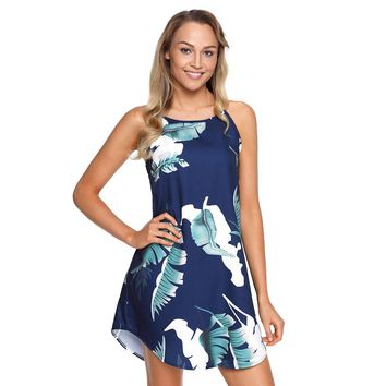 STYLEDOME Sexy Sundresses Summer Beach Blooming Palm Tree Leaf Print Navy Sleeveless Mini Dress Women Boho Short Vestidos