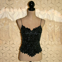 Sexy Tops Black Spaghetti Strap Evening Cocktail Club Beaded Silk Sequins Disco Crop Top Size Small Womens Clothing