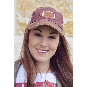 Game Day Vintage Distressed Trucker Cap with Football Patch.   12 Color Choices