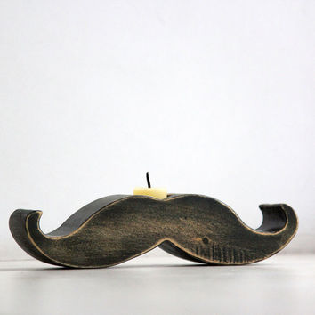 Moustache / mustache candle holder - Rodrigez -  made out of solid wood hand sanded and painted with black acrylic paint