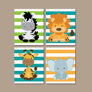BABY ANIMAL Wall Art, Safari Animals, Baby Boy Nursery Artwork, Jungle Safari Theme, Canvas or Prints, Set of 4 Zebra Lion Giraffe Elephant